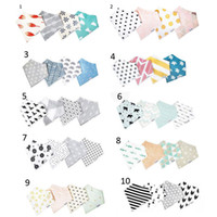 Wholesale 4Pcs Styles INS Baby Burp Bandana Bibs Cotton Soft Kids Toddler Triangle Scarf Bib Cool Accessories Infant Saliva Towel