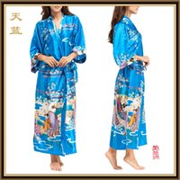 Wholesale NEW style Luxurious Women s Silk Kimono Robe Pajamas calico Nightdress Sleepwear Kimono Chinese painting Underwear long Robes CL WQ14