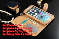 apples painted - HOT Sale Luxury Fashion Gold Grid Paint Leather Wallet Case For iPhone s plus s SE Galaxy S7 S6 edge plus Note5 Cover