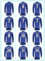 beckham manchester jersey - Best Uniforms Kit Manchester Memphis Di Maria Mata Beckham Rooney Blue Away Soccer Jersey Long Sleeve Jerseys
