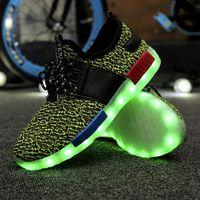 b d led - 8 colores LED calza hombres mujeres casual zapatos planos de moda nm lona lights zapatos d luminosa alpargatas USB dropshipping