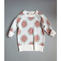 Wholesale 1 Y Toddler Baby Sweaters Autumn Winter Orange Pattern Kids Outfits Infant Boys Girls Cotton Kintted Pullovers Tops
