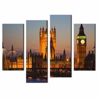 architecture pictures houses - LK497 Panel Modern Canvas Painting For Home Big Ben House Of Parliament Westminster Bridge Dusk London Architecture Cityscape Print