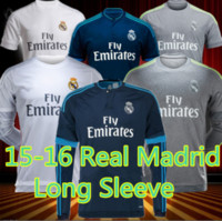 Wholesale Real Madrid long sleeve jersey Ronaldo James Soccer Uniforms Jersey Shirt Sets Isco Benzema Bale thai quality Men adult Long sleeve