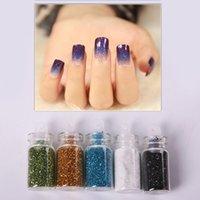 Wholesale 1 set Color Nail Glitter Powder Dust D Nail Art Decoration Nail Art Bottle Tip Set WA0172