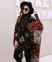 Wholesale Korean stylish geometric patchework woven women winter poncho colors navy and black fashionable high quality pc retail