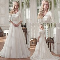 Wholesale Modest Lace Sleeves V Neck Chiffon Princess Wedding Dresses Vintage Bridal Wedding Gowns Muslim Bride Dress