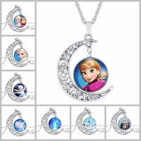 anna necklace - Film silver jewelry moon necklace European vintage cartoon style of Elsa snow queen Anna glass pendant necklace princess girls
