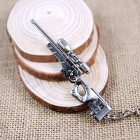 promotion fan - 6 CM CF AWM Sniper Rifle Keychain Mini Metal Weapon Model KeyRing Collectable Gun Military Fans Gift Free ship
