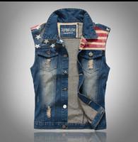 Wholesale Classic Vintage Mens Jeans Vest Tops Sleeveless Casual Fashion Flag Blue Jeans Jacket Slim Waistcoat men clothing Size M XXL