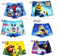 Cheap 100PCS Hot Children Baby Boy minions spiderman Swim trunks Beachwear Cool Swimsuits Kids cartoon kids Boys Swimming Shorts pants 16 styles