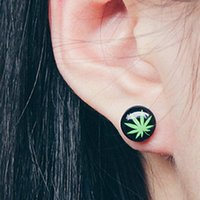 Wholesale Green Herb Ear Stud Earrings Magnesium Bling sterling Round earpin Bob Marley Rasta EARRINGS Alergenic pierced earrings pair