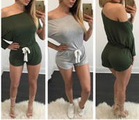 Wholesale Short Rompers for Women Hot Spring Long Sleeve Off the Shoulder Sports Jumpsuits and Rompers Casual Short Club Jumpsuits