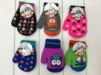 animal designs gloves - European custom order designer cute cartoon acrylic knitted kids mittens and fingerless gloves for children pairs mix designs