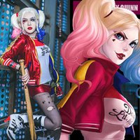 Wholesale 2016 new harley quinn suicide squad cosplay suit jacket t shirt Shorts glove halloween costumes for women