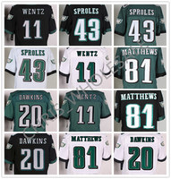 Wholesale NEW NIK elite Philadelphia football jerseys Eagles rugby jerseys CARSON WENTZ DARREN SPROLES BRIAN DAWKINS RANDLE Black Green