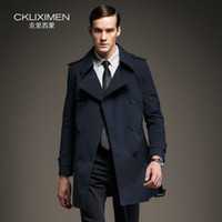 Wholesale Fall New arrive British Style double breasted mens long trench coat brand business casual windbreaker jacket overcoat men