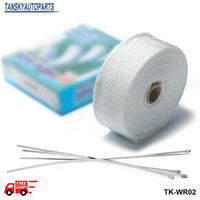Wholesale Tansky BILL quot x10m White TURBO MANIFOLD HEAT EXHAUST THERMAL WRAP TAPE With STAINLESS TIES TK WR02 FS