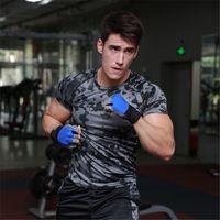 Wholesale Camouflage New Men Compression Elastic Short Sleeve Shirt Quick Dry Sport Running Bodybuilding Gym Training T Shirt