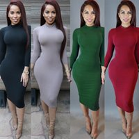 Wholesale Hot Sale Women Winter Dress Turtle Neck Pencil Bodycon Dress Black Long Sleeve Sexy Club Dresses Party Bandage Dress Plus Size Vestidos