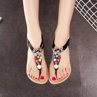 Wholesale 2016 summer new Rhinestone Beaded T Tied flat sandals thong sandals Bohemian fashion Shoes