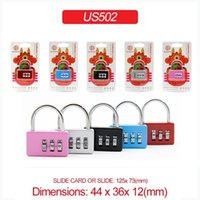 Wholesale Mini Digit Combination Password Padlock Red Monster Card Packaging Luggage Backpacks Zipper Bags Padlock US502