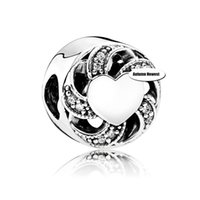 Wholesale Ribbon Heart New Autumn Charm Fits Pandora Bracelet Authentic Sterling Silver DIY making jewelry Europe style