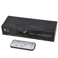 Wholesale 4 Port VGA USB Manual smart KVM Switch with Remote Switcher Key Press Panel with cables BW UR