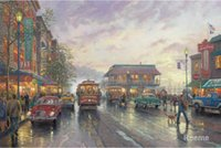 Oil Painting bay thomas - modern landscape art City by the Bay Thomas Kinkade paintings Handmade High Quality