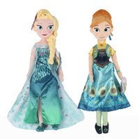 Wholesale Fever Elsa Anna Plush Doll CM CM quot quot Toys Spring Dress Big Princess Stuffed Brinquedos Birthday Olaf Snowgies In Stock