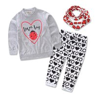 Wholesale INS gray round neck long sleeved cotton baby clothes infant autumn baby sweater Three piece sets T shirt Pants Scarf new E440