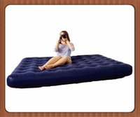 Wholesale Camping mat series flocked pvc Double Air Mattress Indoor And Outdoor For Household Flocking Inflatable Bed Multiple Sizes DHL Free