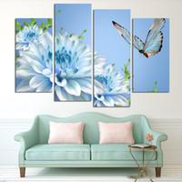 4 панелей синий цветок хризантемы большая картина HD Картина маслом холстины Картина Современные отделки стен Гостиная (No Frame)