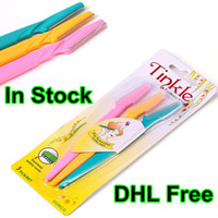 Wholesale DHL Free Tinkle Eyebrow Razor Portable Eyebrow Trimmer Shaper Shaver Hair Remover Set Stainless Steel Cutting Sharp Makeup Kit set