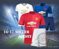 Wholesale 16 Cheap Soccer Jersey Men Top Quality Manchester Home Away Soccer kit ROONEY IBRAHIMOVIC POGBA football shirt with shorts