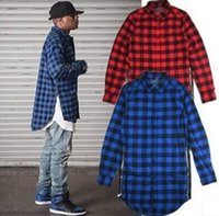 Wholesale new casual Mens autumn spring Style Tyga Swag Hip Hip KANYE WEST Top Shirts Red Black Blue Plaid Side zipper Urban shirt