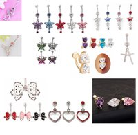 belly button gauges - A009 newly mix styles as imaged belly ring gauge navel button ring piercing body jewelry navel belly ring fashion jewelry