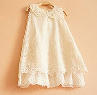 beaded tank clothing - Summer children clothing female child handmade pearl collar lace one piece dress summer baby girl tank embroidered dress