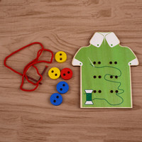 Wholesale Wooden Toys Sew On Buttons Lacing Early Educational Game For Children Baby