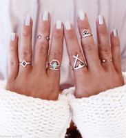 Wholesale 6PCS Vintage Turkish Beach Punk Geometry Ring Set Ethnic Carved Gold Plated Boho Midi Finger Ring Knuckle Charm anelli