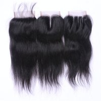 Wholesale NATURAL COLOR SILK STRAIGHT BLACK LACE CLOSURE HUMAN INDIAN REMY HAIR TOP LACE CLOSURE