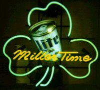 advertising times - Miller Time Can Shamrock Neon Sign Custom Handmade Real Glass Tube Store Beer Bar KTV Club Pub Advertising Display Neon Signs quot x17 quot