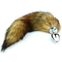Cheap New Fox Tail Anal plug silver metal dog tail butt plug masturbation devices Small