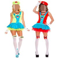 adult party hats - Super Mario Costumes For Adults Women Sexy Pinafore Dress With Hat Halloween Cosplay Party Performance Costume