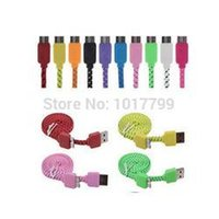 Cheap Free Shipping 1m Colorful Braided Woven Fabric Nylon Flat noodle Data Charge Cable for Samsung Galaxy Note 3 N9000 N9005 N9006 160526#