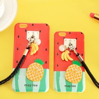 Cheap Cartoon Watermelon Pineapple Banana Pendant Cases TPU Soft Case Cover for iPhone 6 6S 6 Plus 6S Plus Sweet Skin New Arrivals