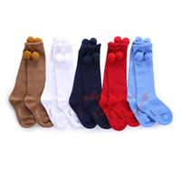 Girl anti bacterial socks - Pettigirl New Trendy Double Pompom Balls Socks For Girls Solid Color Leggings Kids Cute Leg Warmers Baby Anti bacterial Autumn Wear