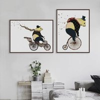 bicycle picture frames - Modern Nordic Cartoon Kawaii Panda Bicycle Art Prints Poster Hippie Animal Wall Picture Canvas Painting No Frame Kids Room Decor