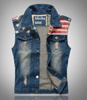 Wholesale HOT Fashion Men S Denim Vest new Cultivate one s morality cowboy Vests Tank top Sleeveless national flag hole leisure Plus Size Jeans