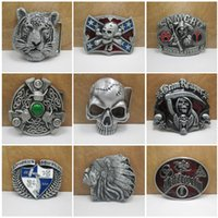 Wholesale Free DHL Western Skull Head Eagle Tiger Confederate Southern South Rebel Dixie Flag Metal Belt Buckle Styles Mens Belt Buckle E874L